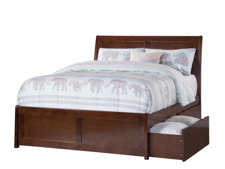 Atlantic Furniture Portland Queen Platform Bed with Matching Foot Board with 2 Urban Bed Drawers in Walnut