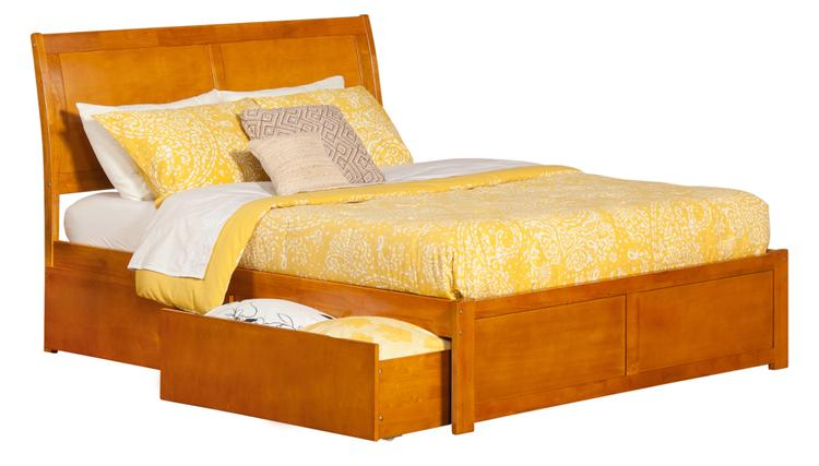 Atlantic Furniture Portland Platform Bed with Flat Panel Foot Board and 2 Urban Bed Drawers