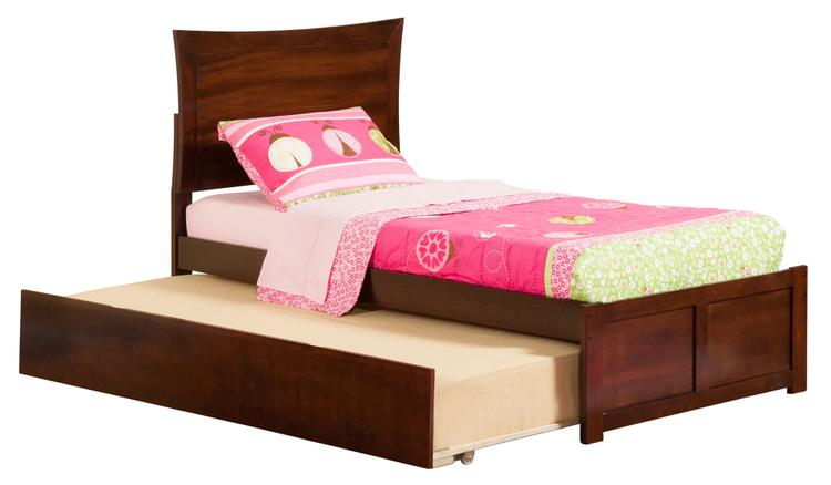 Metro Twin Platform Bed with Flat Panel Foot Board and 2 Urban Bed Drawers in Walnut