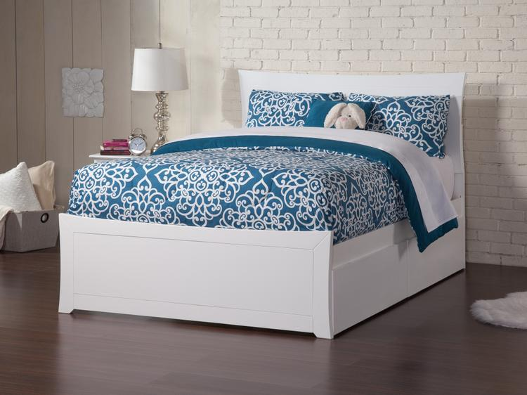 Atlantic Furniture Metro Full Platform Bed with Matching Foot Board with 2 Urban Bed Drawers in Walnut