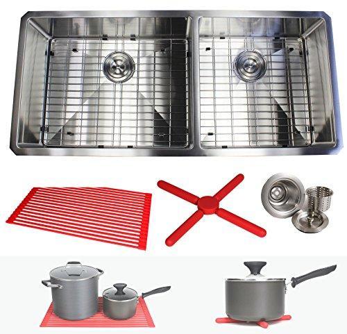 Premium 42 Inch Stainless Steel Super Sized Kitchen Sink Package By Ariel - 16 Gauge Undermount Double Bowl Basin - Complete Sink Pack + Bonus Kitchen Accessories - Ideal For Home Kitchen Renovation