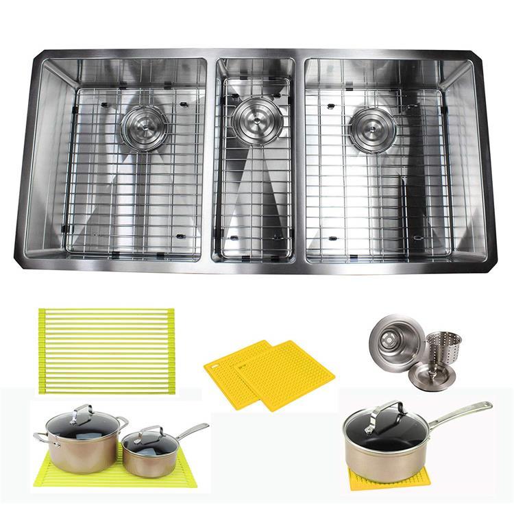 Premium 42 Inch Stainless Steel Triple Bowl Super Sized Kitchen Sink Package By Ariel - 16 Gauge Undermount Basin - Complete Sink Pack + Bonus Kitchen Accessories - Ideal For Kitchen Renovation