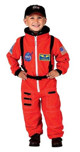 Jr. Astronaut Suit w/Embroidered Cap, size 8/10 (orange)