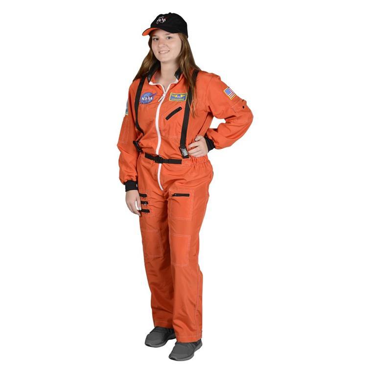 Adult Astronaut Suit, w/Embroidered Cap LRG (orange)