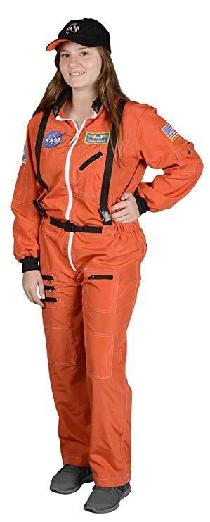 Adult Astronaut Suit, w/Embroidered Cap SM (orange)