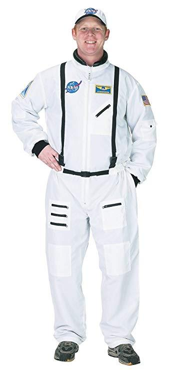 Adult Astronaut Suit, w/Embroidered Cap LRG (white)