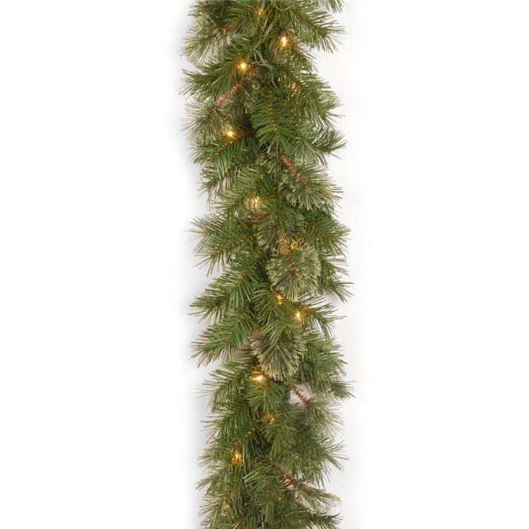 National Tree Atlanta Spruce 9 ft. Garland with Clear Lights [Item # AT7-300-9A-1]