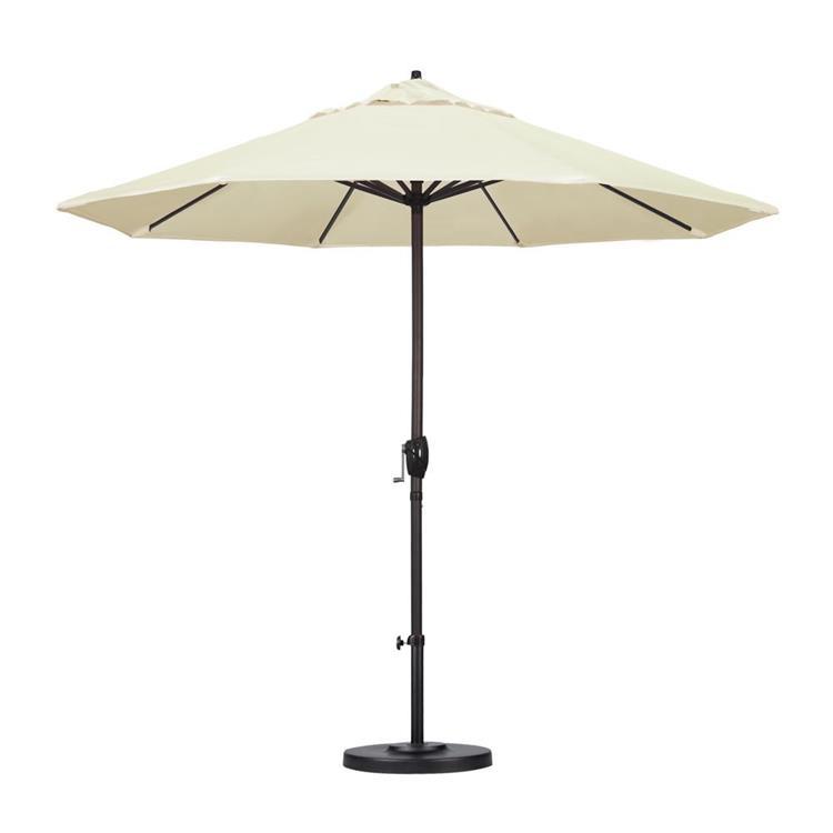 California Umbrella 9' Casa Series Patio Umbrella With Bronze Aluminum Pole Aluminum Ribs Auto Tilt Crank Lift With Pacifica Purple Fabric