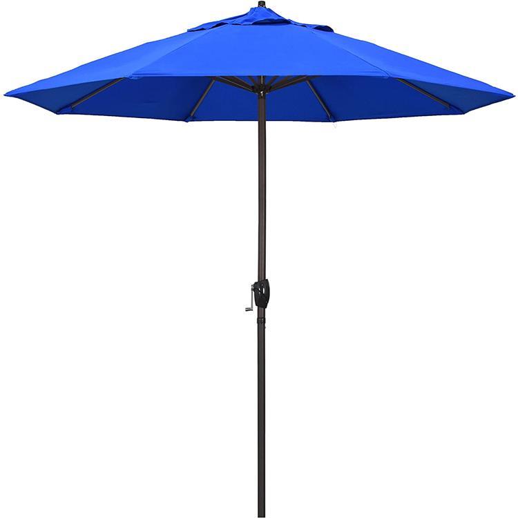 California Umbrella 9' Casa Series Patio Umbrella With Bronze Aluminum Pole Aluminum Ribs Auto Tilt Crank Lift With Pacifica Purple Fabric [Item # ATA908117-F03]