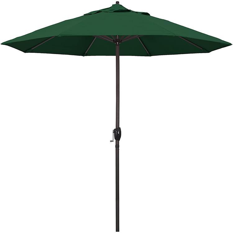 California Umbrella 9' Casa Series Patio Umbrella With Bronze Aluminum Pole Aluminum Ribs Auto Tilt Crank Lift With Pacifica Purple Fabric [Item # ATA908117-F08]