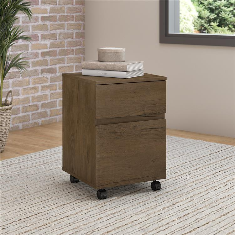 Bush Furniture Anthropology 2 Drawer Mobile File Cabinet in Rustic Brown