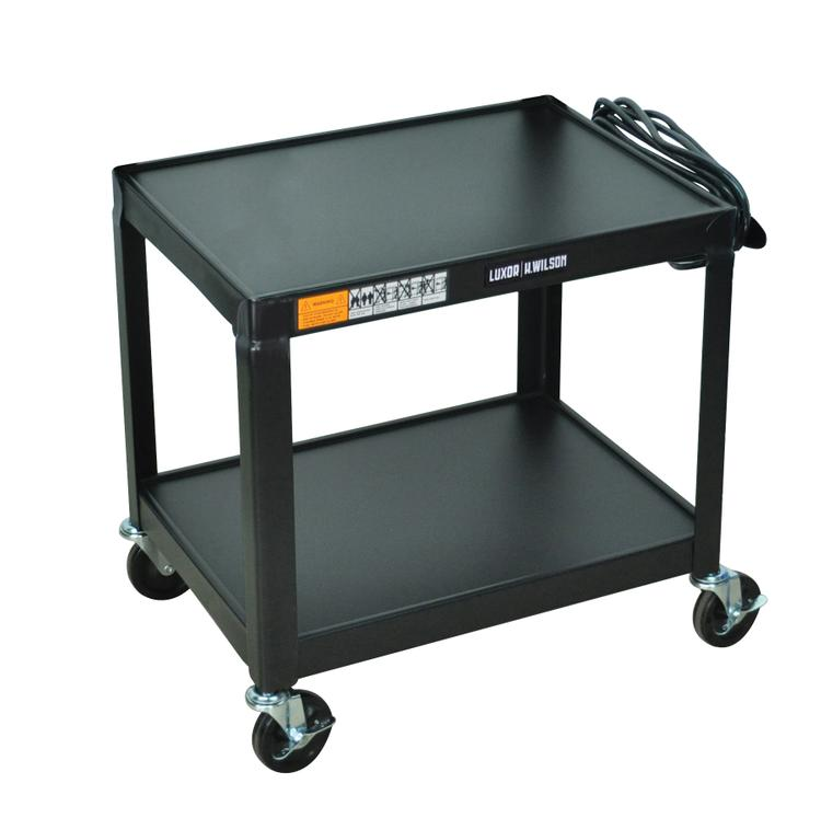 Luxor Fixed Height Steel A/V Cart - Two Shelves