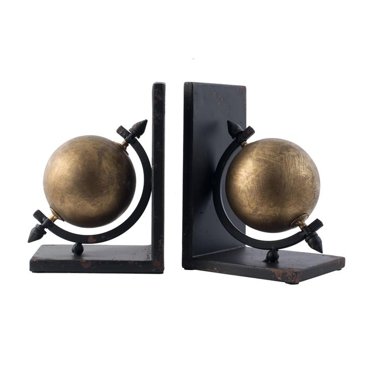 A&B Home Sphere Iron Bookends - Gold, Black
