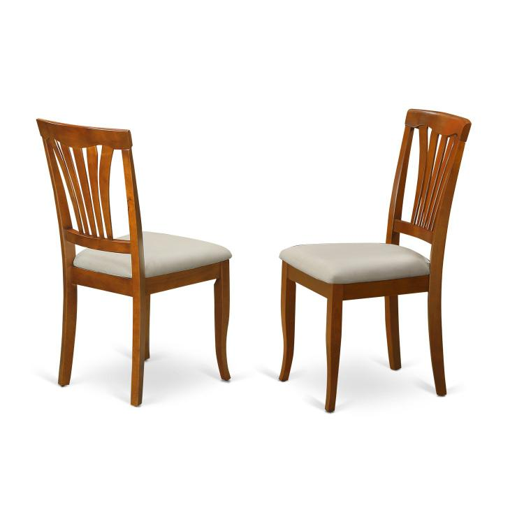 East West Furniture Avon Dining Chair Wood Seat - Black and Cherry Finish - Set of 2