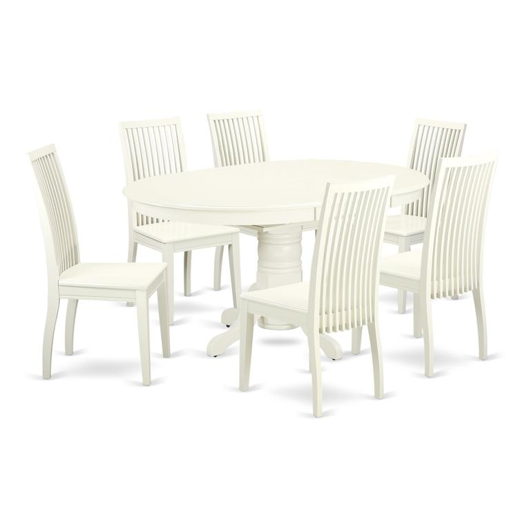 East West Furniture AVIP7-LWH-W 7 Pc Dining set with a Kitchen Table and 6 Wood Seat Kitchen Chairs in Linen White [Item # AVIP7-LWH-W]