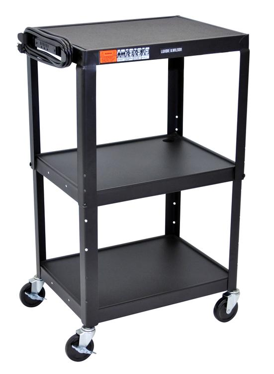 Adjustable Height Steel A/V Cart - Three Shelves
