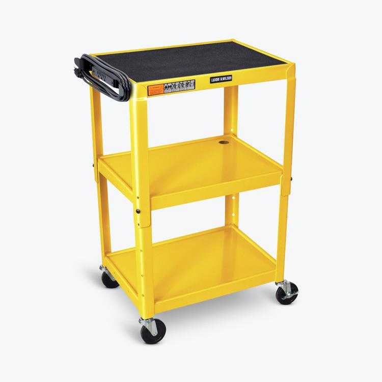 Luxor Adjustable-Height Steel AV Cart - Three Shelves