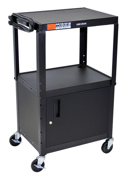 Luxor Adjustable Height Steel A/V Cart - Cabinet