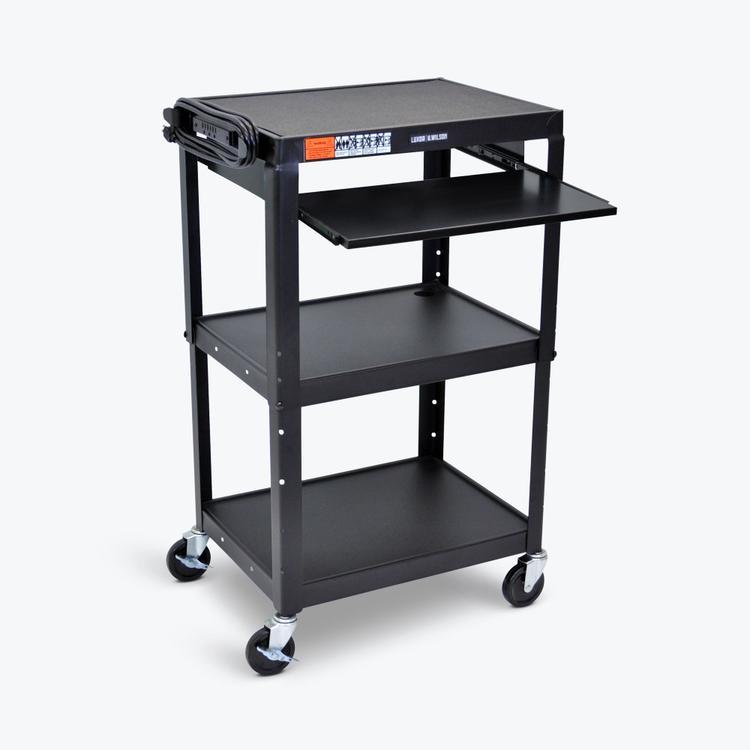 Luxor Adjustable-Height Steel AV Cart - Pullout Tray