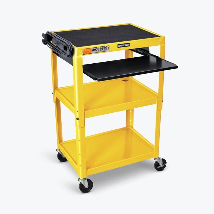 Luxor Adjustable-Height Steel AV Cart - Pullout Keyboard Tray