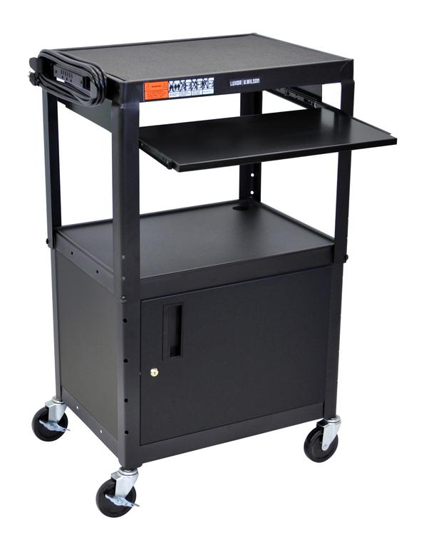 Adjustable Steel A/V Cart - Cabinet, Pullout