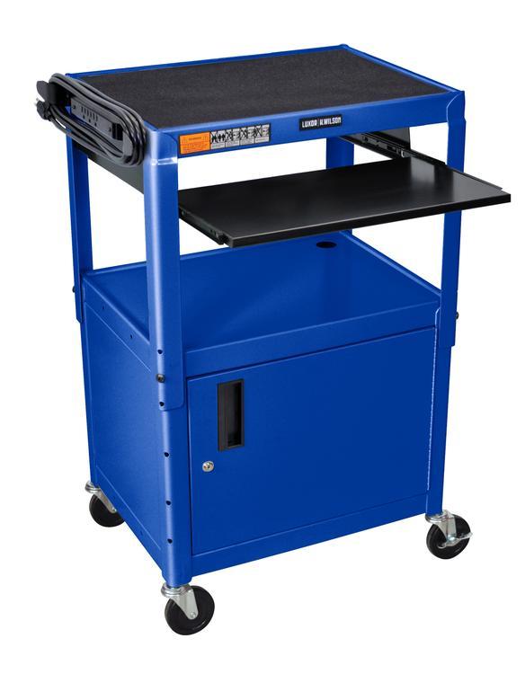 Luxor Adjustable Steel A/V Cart - Cabinet, Pullout [Item # AVJ42KBC-RB]