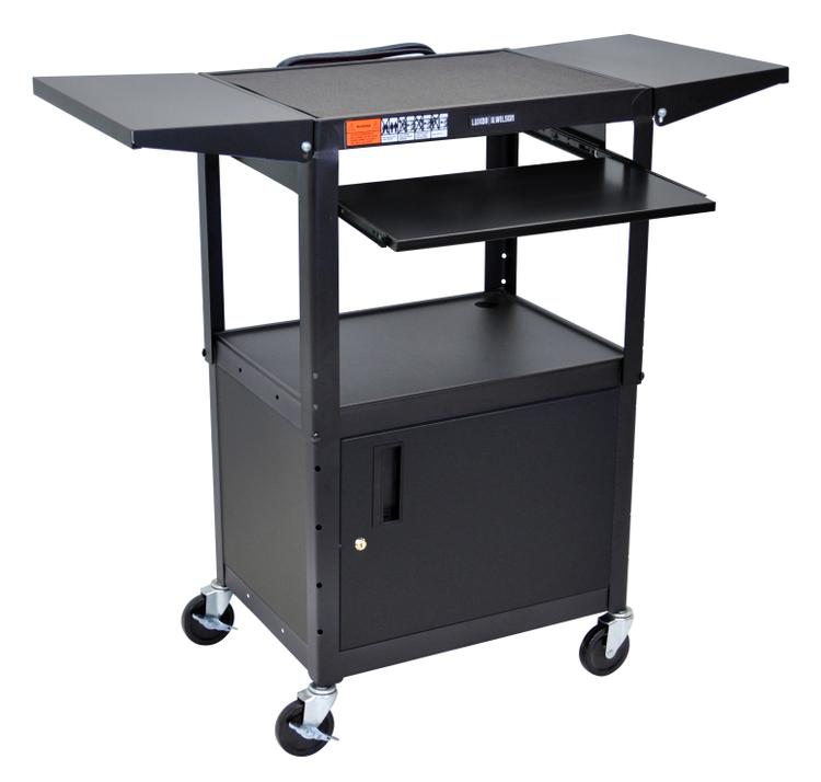 Luxor Adjustable Height Steel A/V Cart -Pullout,Cab,Drop Leaf