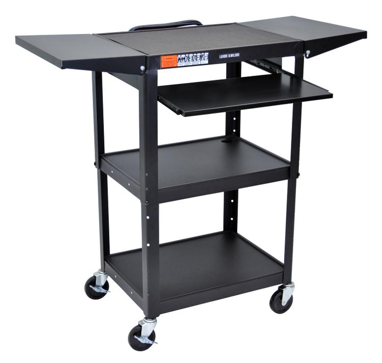 Luxor Adjustable Height Steel A/V Cart - Pullout, Drop Leaf