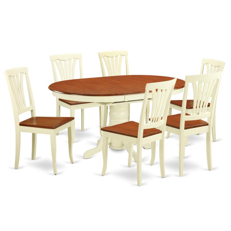 Dining Room Set-Oval Table With Leaf And 6 Dining Chairs