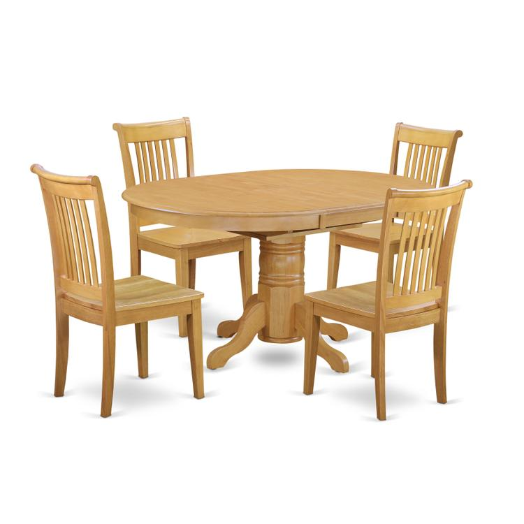 East West Furniture AVPO5-OAK-W 5 Pc Dining set with a Kitchen Table and 4 Wood Seat Kitchen Chairs in Oak [Item # AVPO5-OAK-W]