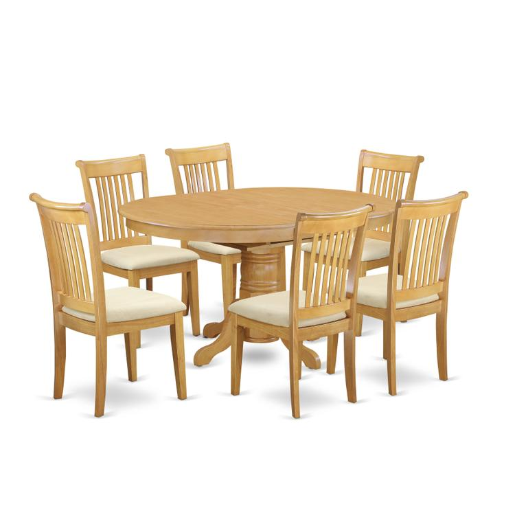 East West Furniture AVPO7-OAK-C 7 Pc Dining set with a Kitchen Table and 6 Cushion Seat Kitchen Chairs in Oak [Item # AVPO7-OAK-C]