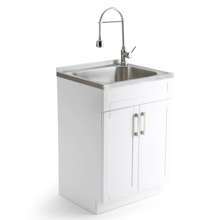 Simpli Home Hennessy Laundry Cabinet with Faucet and Stainless Steel Sink