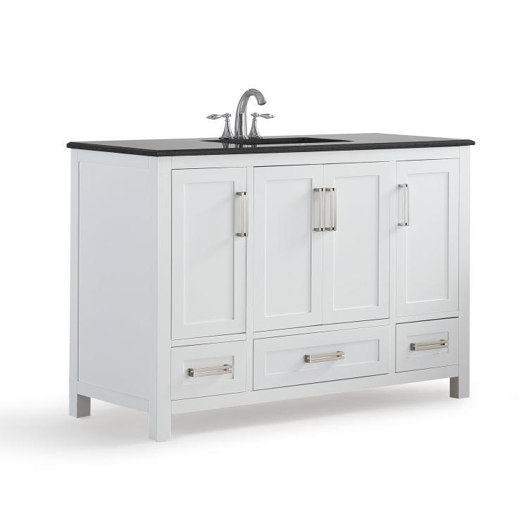 Simpli Home Evan Bath Vanity with Black Granite Top