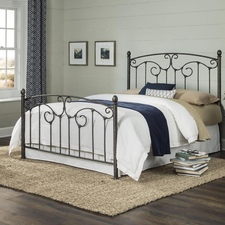 Hinsdale Metal Bed With Sloping Top Rails And Vertical Spindles
