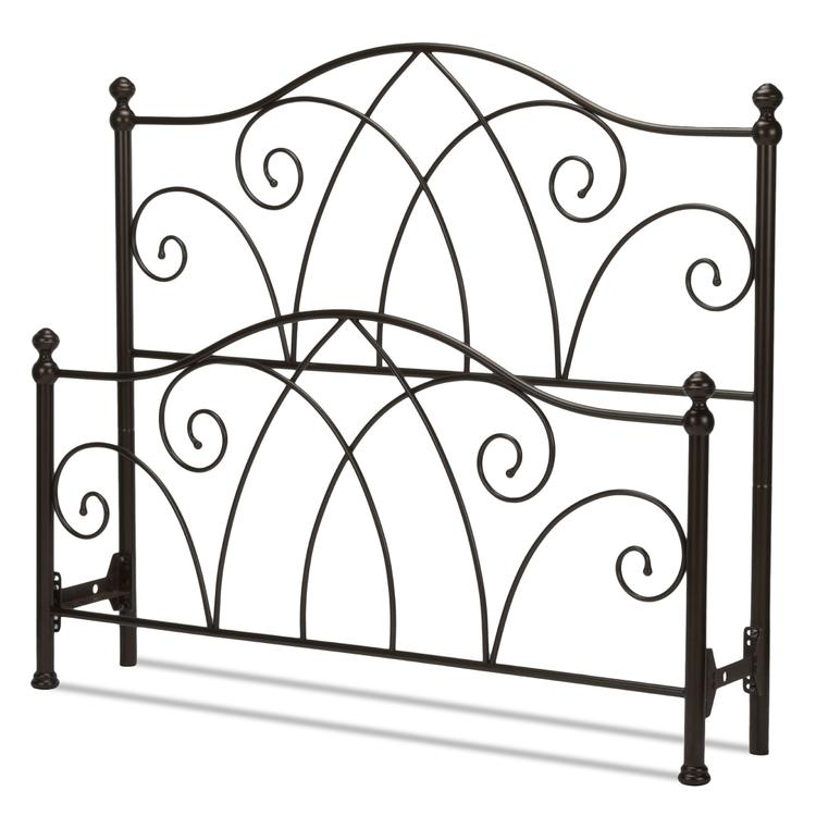 Deland Bed with Curved Grill Design and Finial Posts