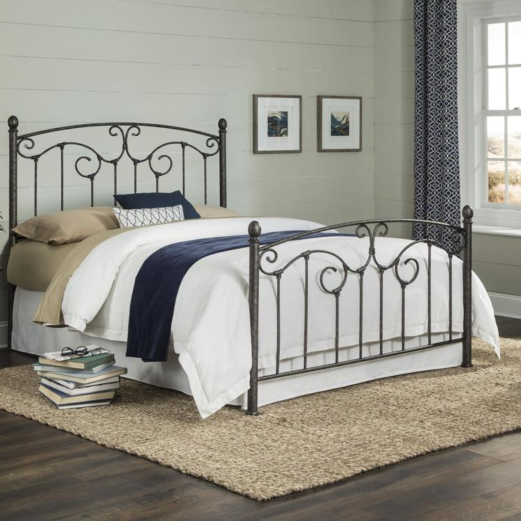 Hinsdale Complete Metal Bed With Sloping Top Rails And Vertical Spindles