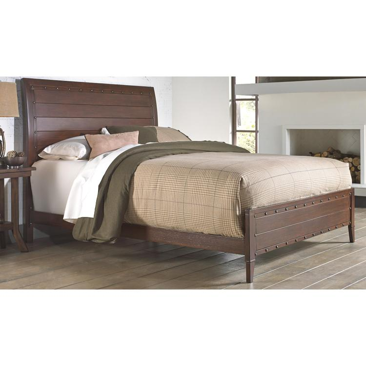 Fashion Bed Group Rockland Platform Bed with Metal Sleigh Headboard and Wood Appearance Design