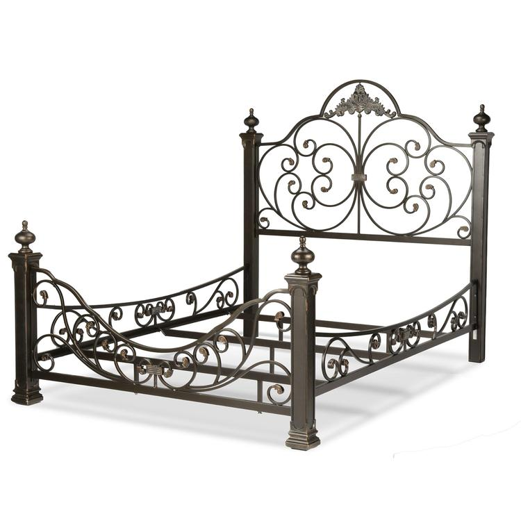 Baroque Complete Bed with Massive Cast Metal Grills and Decorated Sloping Side Rails
