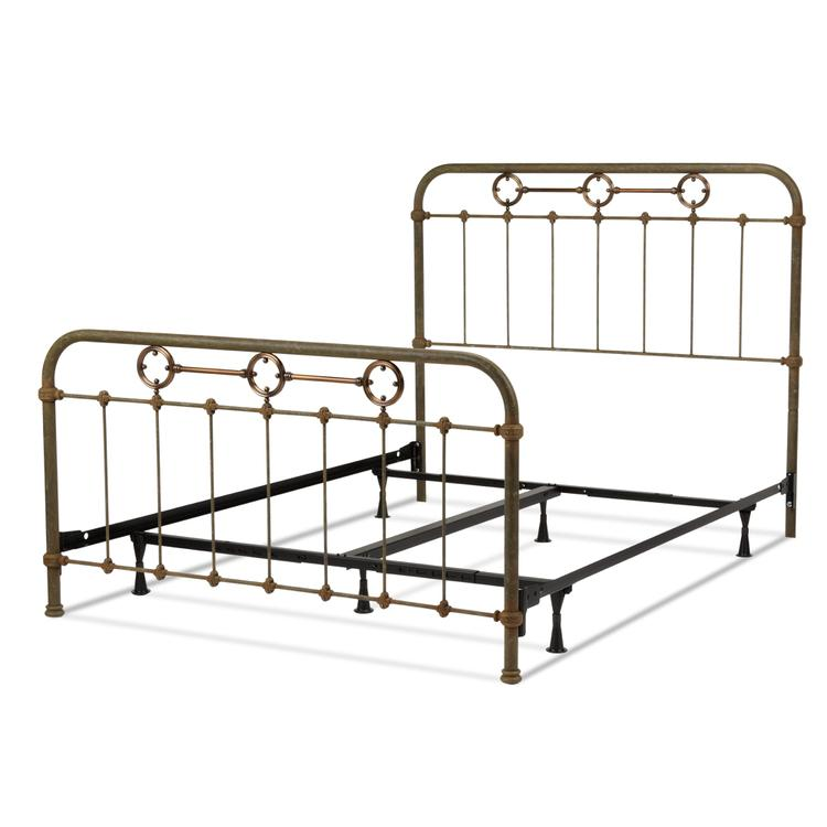 Madera Complete Bed with Metal Panels and Brass Plated Designs