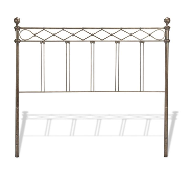 Argyle Headboard with Round Finial Posts and Diamond Wire Metal Grill Design