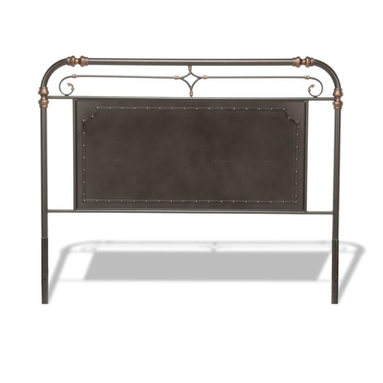 Westchester Metal Headboard with Vintage-Inspired Panel Design and Nailhead Detail