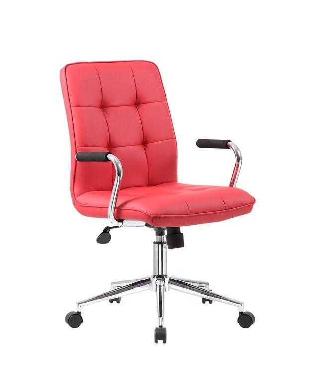 Boss Office Modern Office Chair w/Chrome Arms- White