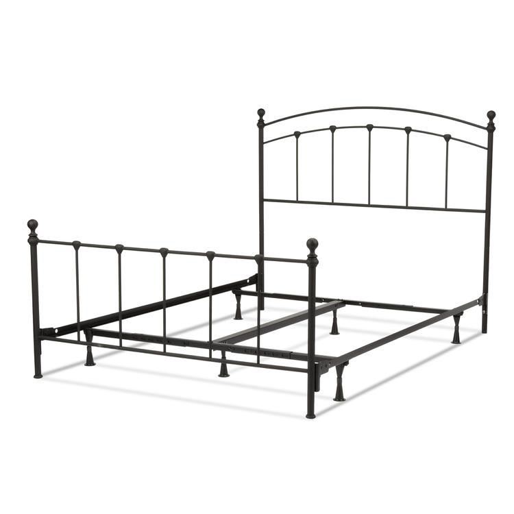 Sanford Complete Bed with Metal Panels and Round Finial Posts