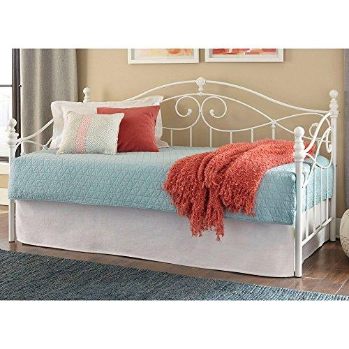 Roselle Complete Daybed with Link Spring and Trundle Bed Pop-Up Frame, Glossy White Finish, Twin