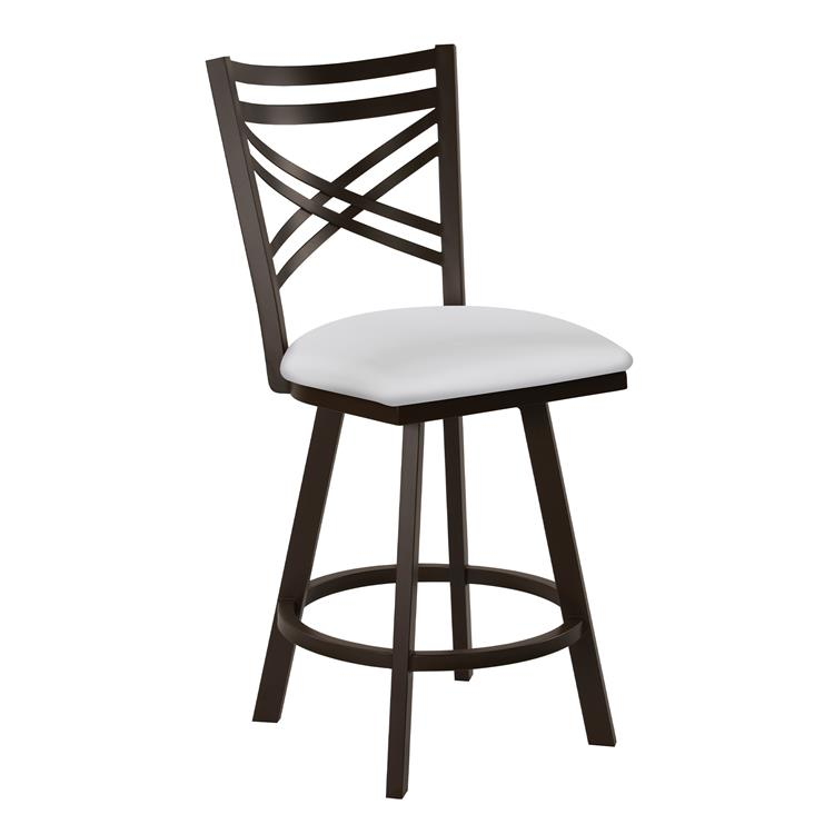 Taylor Gray Monica 26 - inch  Counter Height Metal Swivel Barstool in Aspen Pure White Faux Leather and Capuccino Finish - Made in the U.S.A.
