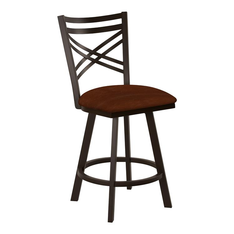 Taylor Gray Monica 26 - inch  Counter Height Metal Swivel Barstool in Brown Yosemite Chestnut Faux Leather and Capuccino Finish - Made in the U.S.A.
