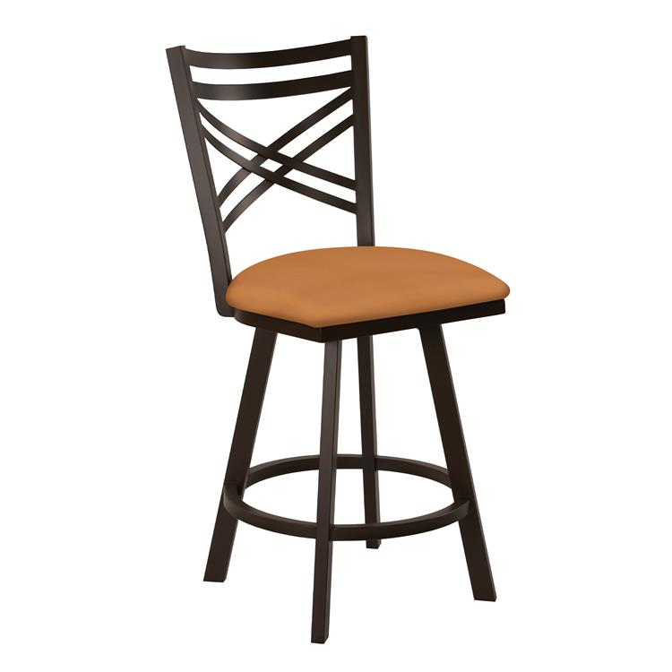 Taylor Gray Monica 30 - inch  Bar Height Metal Swivel Barstool in Orange Dillon Luggage Faux Leather and Capuccino Finish - Made in the U.S.A.