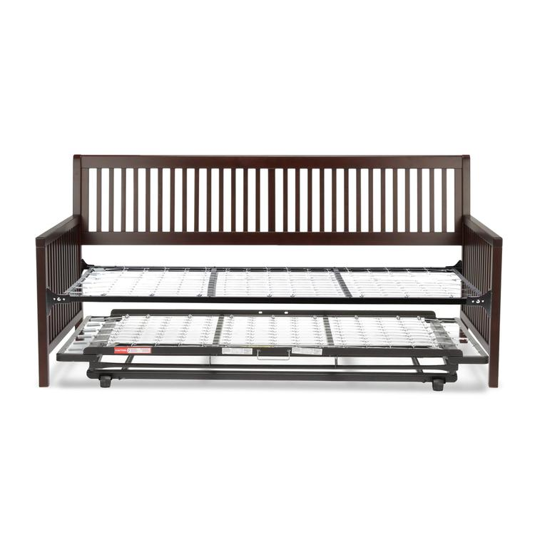 Mission Complete Wood Daybed with Link Spring and Trundle Bed Pop-Up Frame