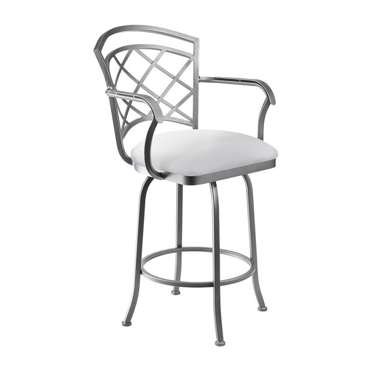Taylor Gray Mandy 26 - inch  Counter Height Metal Swivel Barstool in Aspen Pure White Faux Leather and Flint Rock Grey Finish - Made in the U.S.A.