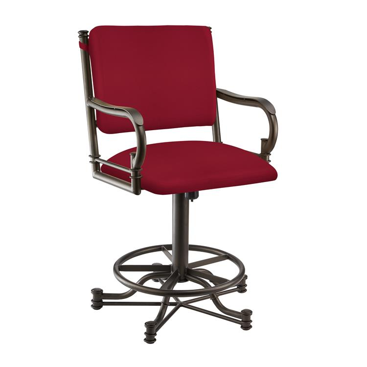 Taylor Gray Sharon 26 - inch  Counter Height Metal Swivel Barstool in Red Dillon Lipstick Faux Leather and Pebblestone Finish - Made in the U.S.A.